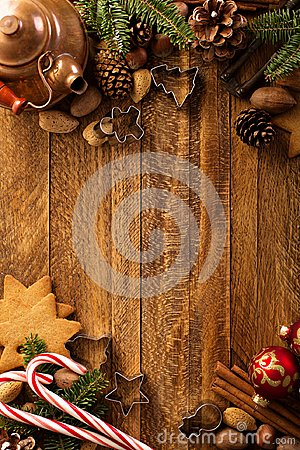 Free Christmas Background With Nuts, Decorations And Candy Cane Stock Photo - 104860240
