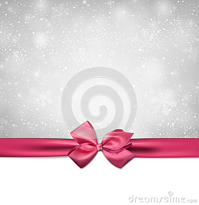 Free Christmas Background With Pink Bow. Stock Photography - 35782332
