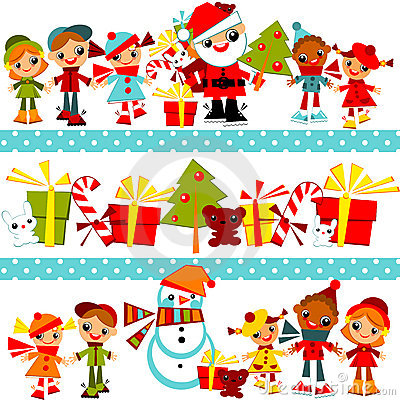 Free Christmas Background With Set Kids Royalty Free Stock Images - 22317409