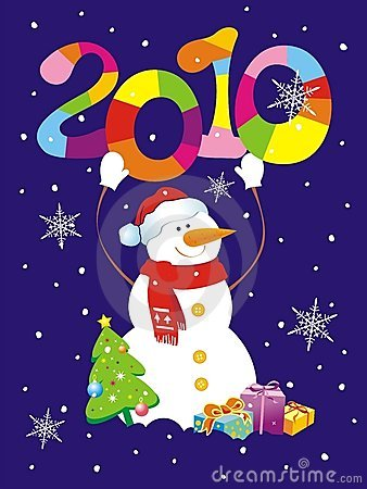 Free Christmas Background With Snowman Holding Figure 2 Stock Images - 11147444