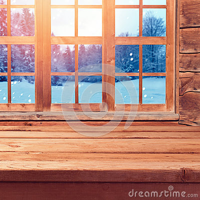 Free Christmas Background With Wooden Empty Table Over Window And Winter Nature Landscape. Winter Holiday House Interior Stock Photography - 60391762