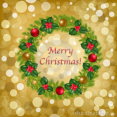 Christmas Background With Wreath. Vector
