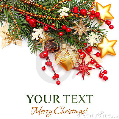 Free Christmas Background - Xmas Tree, Gold Decoration Royalty Free Stock Images - 22082059