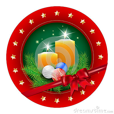 Free Christmas Badge With Candle, Balls, Spruce And Bow Royalty Free Stock Photos - 46387158