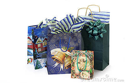 Christmas bags with presents