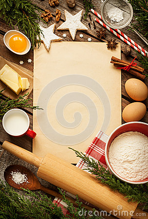 Free Christmas - Baking Cake Background With Dough Ingredients Stock Photos - 44790493