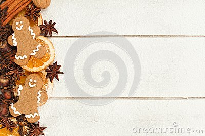 Christmas baking side border against white wood Stock Photo