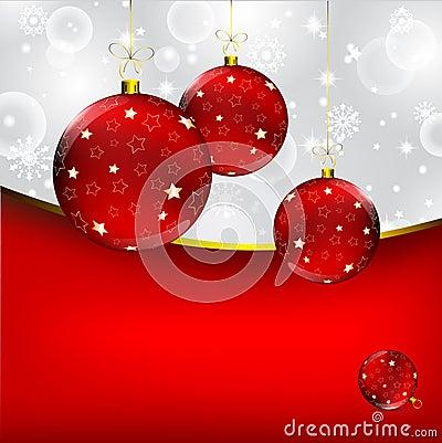 Christmas ball on abstract winter gray