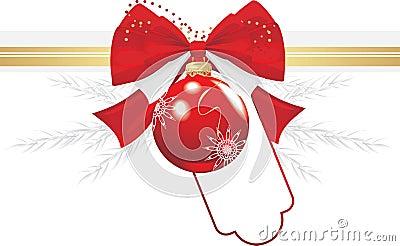 Christmas ball with bow and tinsel. Festive border