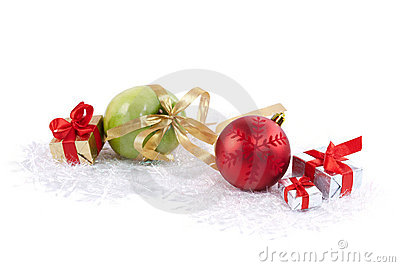 Christmas ball, boxes and green delicious apple
