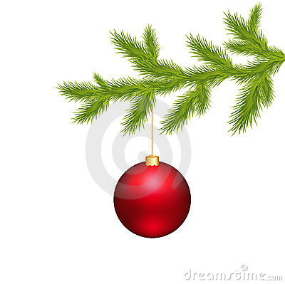 Christmas Ball And Branch Tree. Vector