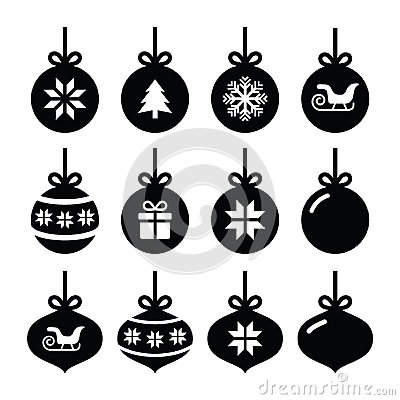 Christmas ball, christmas bauble  icons set