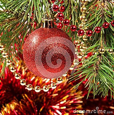 Christmas ball on a Christmas tree