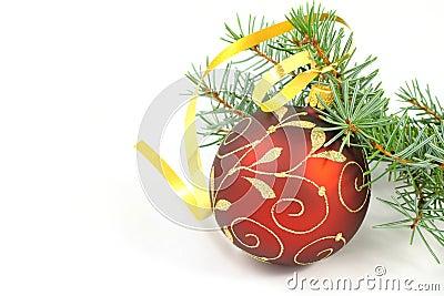 Christmas ball with christmas tree over white