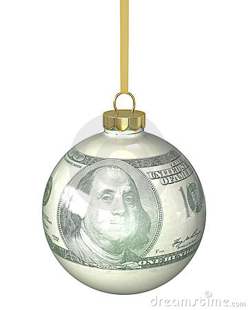 Christmas ball with dollar texture