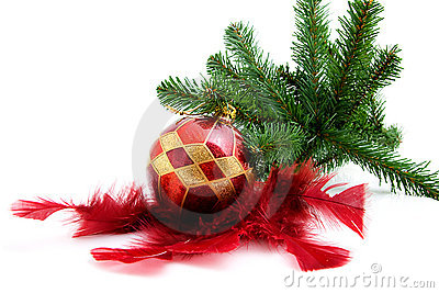 Christmas ball with feathers and tree