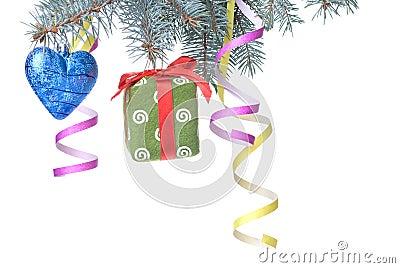 Christmas ball, gift and decoration on fir tree