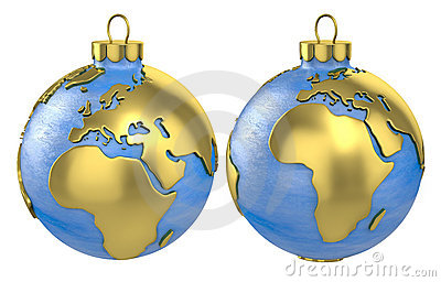 Christmas ball globe, Europe and Africa