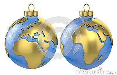 Christmas ball globe, Europe and Africa