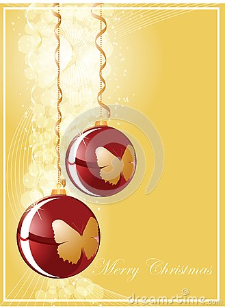 Christmas ball on gold shine background