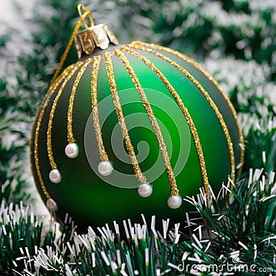 Christmas Ball on green garland