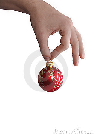Christmas ball in hand