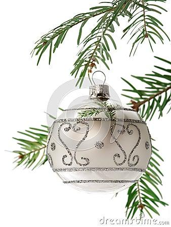 Free Christmas Ball On Branch Stock Image - 1339231