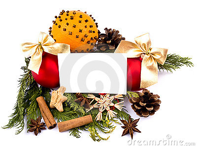 Christmas ball, orange and white note card