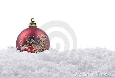 Christmas ball ornament  on snow