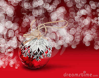 Christmas ball red bokeh background