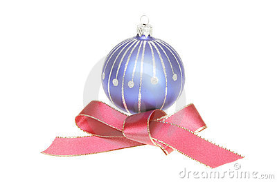 Christmas ball and red ribbon bow