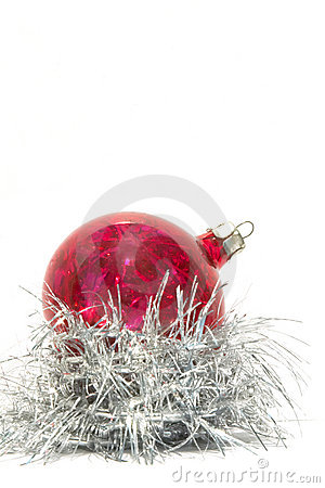 Christmas ball and silver tinsel
