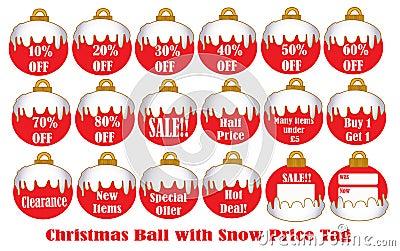 Christmas Ball with snow Price Tag