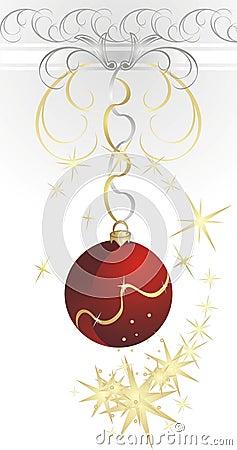 Christmas ball with swirl of stars