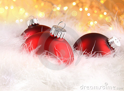 Christmas balls with abstract holiday background