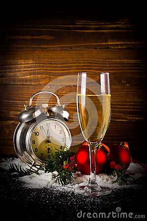 Free Christmas Balls And Vintage Clock With Glass Of Champagne Royalty Free Stock Photos - 34728828