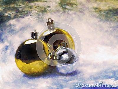 Christmas balls. Artistic painting.