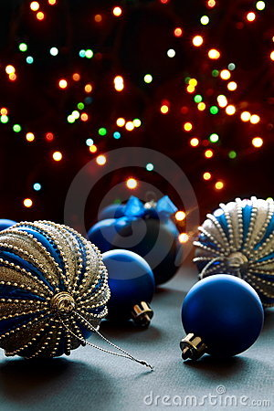 Christmas balls on the background lights.