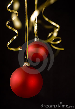 Christmas balls on black