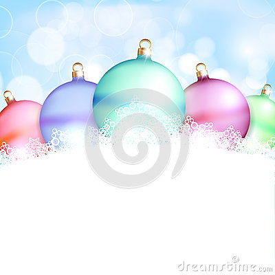 Christmas balls and blue abstract background