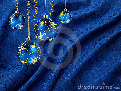 Christmas balls blue curtain