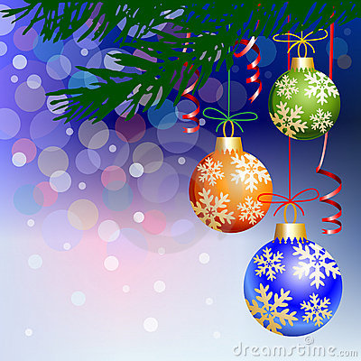 Christmas balls on blue light background