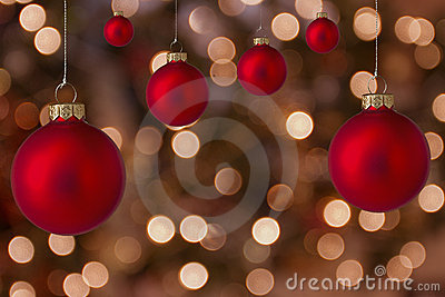 Christmas balls with blurred background