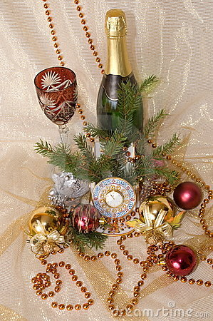 Christmas balls, clock,  glass and bottle