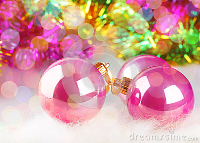 Christmas balls on colorful background