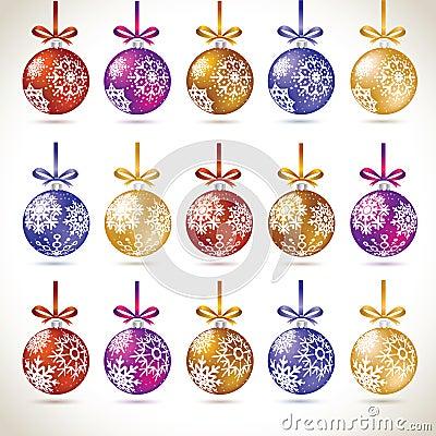 Christmas balls colorful hanging big set on tape for christmas t Stock Photo