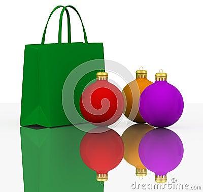 Christmas Balls and Colors shopping bags