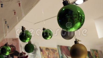 Christmas balls decoration 2. Christmas balls decoration indoor shop stock video