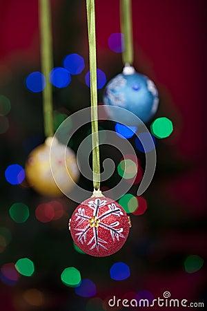 Christmas balls with defocused lights