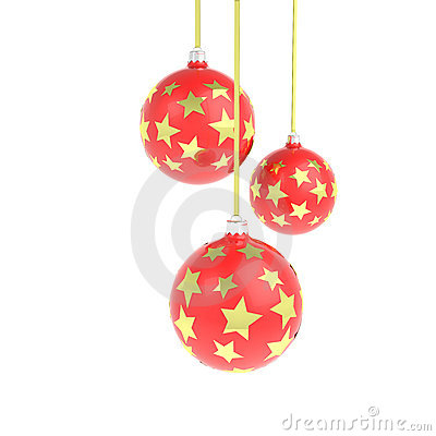 Christmas balls with golden stars
